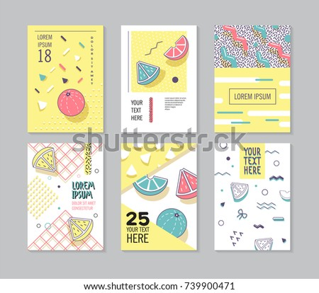 Abstract Memphis Style Posters Set. Geometric Shapes Cards. Trendy 80s-90s Patterns. Vector illustration