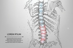 Abstract mesh line and dot physiotherapy human spine. Low poly Pain area surgery operation. Polygonal render back hernia vector illustration