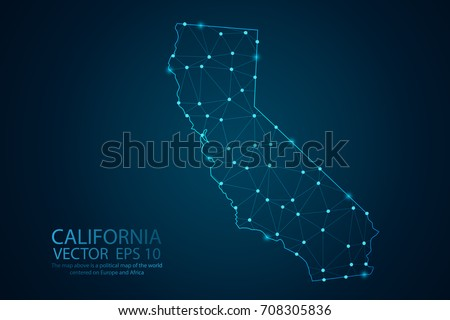 Abstract mesh line and point scales on dark background with map of California. Wire frame 3D mesh polygonal network line, design sphere, dot and Structure. Vector illustration eps 10.