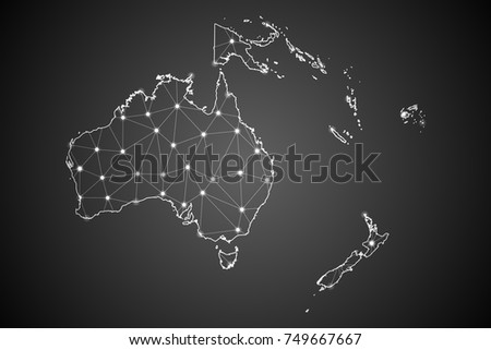 Abstract Mesh Line and Point Scales on The Dark Gradient Background With Map of Oceania. 3D Mesh Polygonal Network Connections.Vector illustration eps 10.