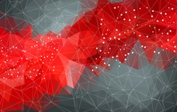 Abstract mesh red background with circles, lines and shapes. Futuristic Design