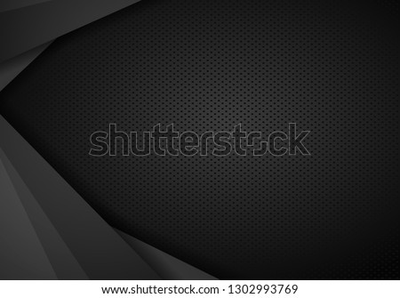 Abstract metal background. Tech dark design with perforated metal texture. Vector background.