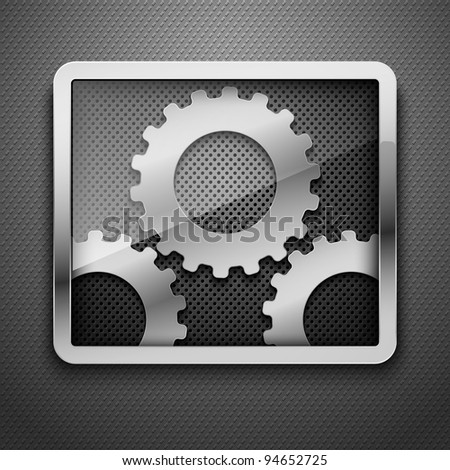 Abstract metal background with framework and gears. Vector illustration.