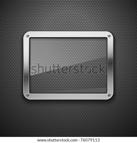 Abstract metal background with glass framework. Vector illustration.