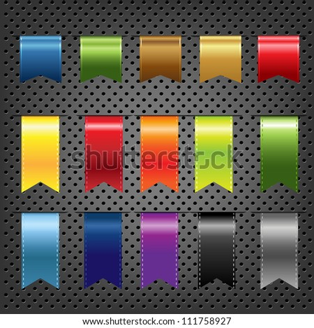 Abstract Metal Background With Ribbons Set, Vector Illustration