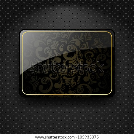 Abstract metallic background with black glass banner