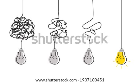 Abstract metaphor of business problem solving or difficult situation. Simplification streamlining process with lightbulbs. Tangle tangled and unraveled.Vector idea concept isolated on white background Photo stock ©
