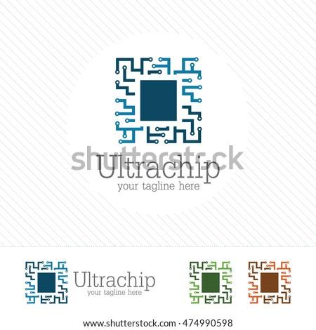 abstract micro chip symbol logo