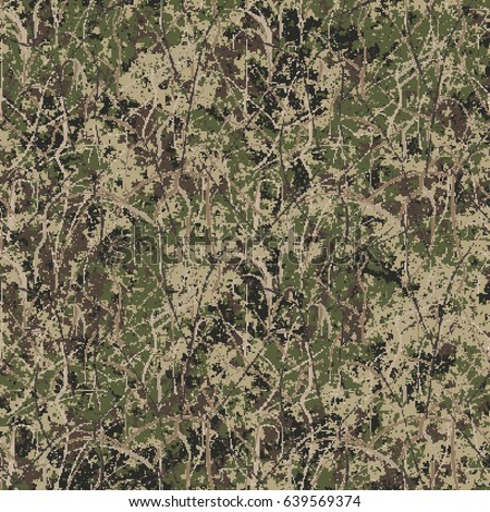 Abstract military or hunting camouflage background. Seamless pattern. Geometric square shapes camouflage. Camo.