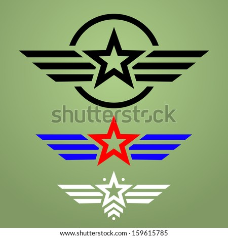 Abstract Military Star Emblem Set On Green Background