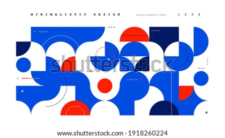 Abstract minimal background in vibrant colors. Bright doodle forms, contrast geometric elements. Vector art poster Stockfoto ©