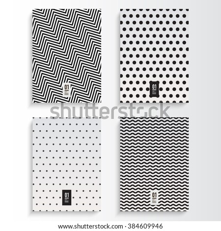 Abstract minimal black and white flyer or book cover design set with zig-zag and dots pattern background and your text  Eps 10 stock vector illustration