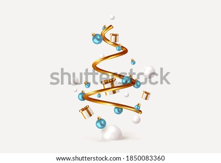 Abstract minimal christmas design, golden metallic cone spiral tree, with realistic holiday baubles round balls. Xmas decorative 3D objects. Christmas and New Year background. vector illustration