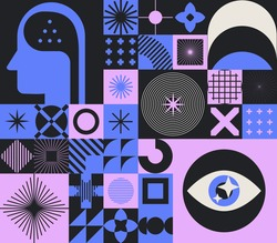 Abstract minimal composition of geometric bold simple shapes and flat illustration of head and eye. Concept of human psychology and mental health.