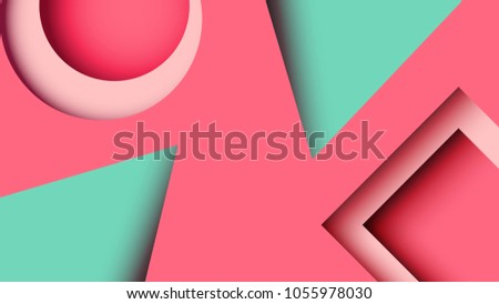Abstract minimal geometric paper cut web banner background template.Vector illustration.