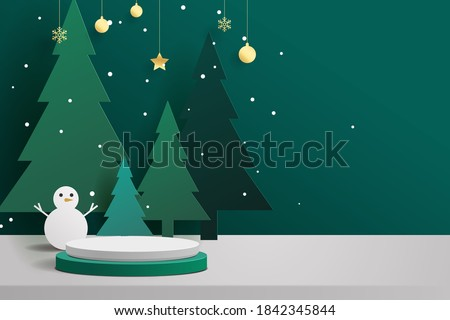 Abstract minimal mock up scene. geometry podium shape for show cosmetic product display. stage pedestal or platform. winter christmas green background with tree xmas. 3D vector