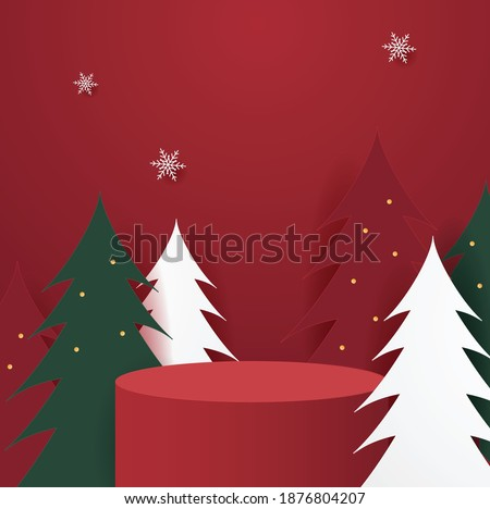 Abstract minimal mock up scene. geometry podium shape for show cosmetic product display. stage pedestal or platform. winter christmas red background