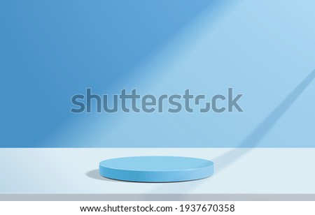 Abstract minimal scene with geometric forms. cylinder podium in blue background. product presentation, mock up, show cosmetic product, Podium, stage pedestal or platform. 3d vector