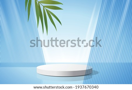 Abstract minimal scene with geometric forms. cylinder podium in blue background with leaves. product presentation, mock up, show cosmetic product, Podium, stage pedestal or platform. 3d vector