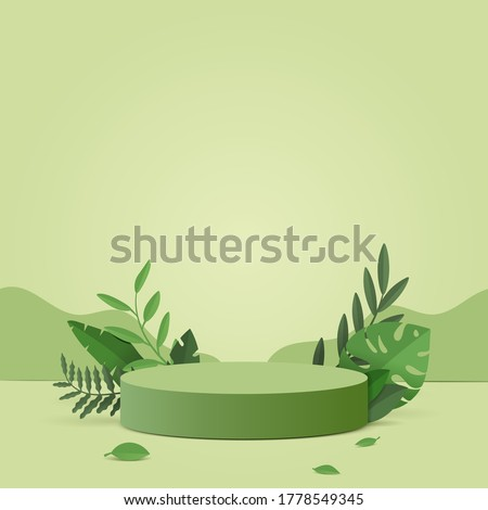 Abstract minimal scene with geometric forms. cylinder podium in green background with green plant leaves. product presentation, mockup, show product, podium, stage pedestal or platform. 3d vector