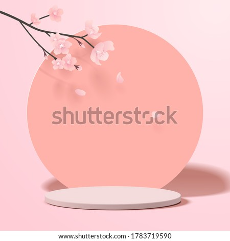 Abstract minimal scene with geometric forms. cylinder podium in pink background with pink sakura flower. product presentation, mockup, show product, podium, stage pedestal or platform. 3d vector