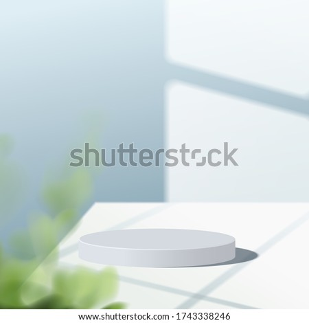 Abstract minimal scene with geometric forms. cylinder white podium in blue background with leaves. product presentation, mock up, show cosmetic product, Podium, stage pedestal or platform. 3d vector