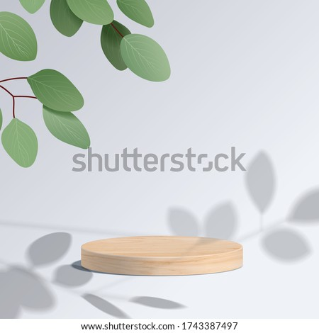Abstract minimal scene with geometric forms. cylinder wood podium in white background with leaves. product presentation, mock up, show cosmetic product, Podium, stage pedestal or platform. 3d vector