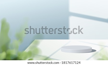Abstract minimal scene with geometric forms. white podium in blue background with leaves. product presentation, mock up, show cosmetic product display, Podium, stage pedestal or platform. 3d vector