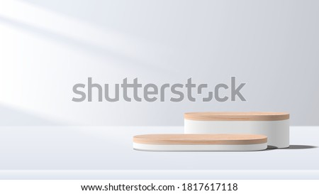 Abstract minimal scene with geometric forms. wood podium in white background. product presentation, mock up, show cosmetic product display, Podium, stage pedestal or platform. 3d vector ストックフォト ©