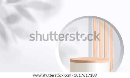 Abstract minimal scene with geometric forms. wood podium in white background with leaves. product presentation, mock up, show cosmetic product display, Podium, stage pedestal or platform. 3d vector