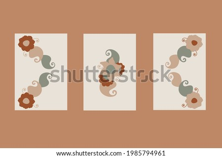 Abstract minimalist Mendi hand-drawn desi illustration, wall decoration, brochure, cover design. Doodle background contains various shapes, spots, drops. Modern trendy vector. Stock photo ©