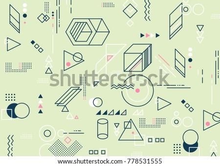 Abstract minimalistic flat background. Geometric elements background. Horizontal version.