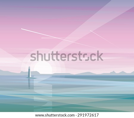 abstract minimalistic summer landscape ocean view with lighthouse on purple sunset