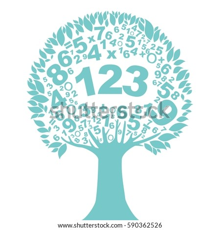abstract mint tree with numbers
