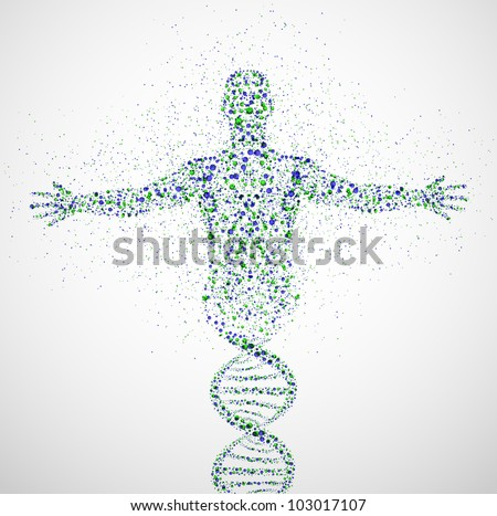 Abstract model of man of DNA molecule Eps 10
