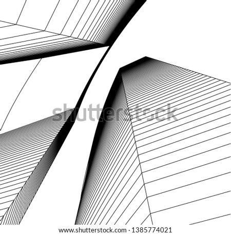 Abstract modern architecture building 3d  #1385774021