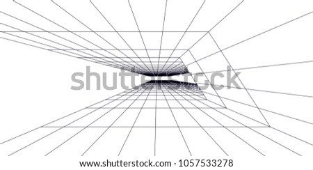 Abstract modern architecture building, vector line 3d background #1057533278