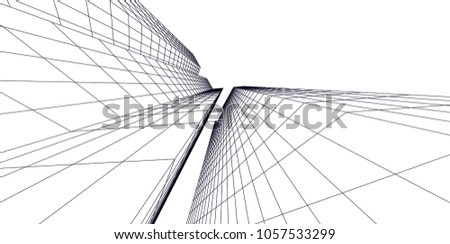 Abstract modern architecture building, vector line 3d background #1057533299