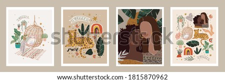 Abstract modern art posters. Vector illustrations of fashionable portraits, spots, cozy interior items, textures, jungle and leopard. Drawings for background, cover and card