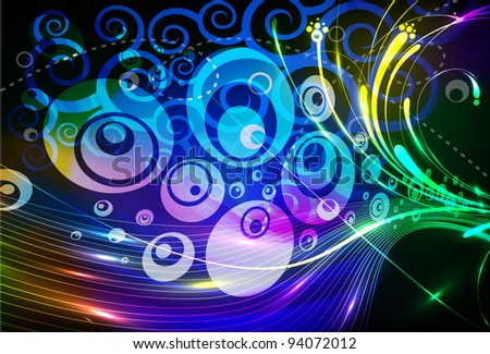 Abstract modern banner theme background with circles and music, Editable Illustration