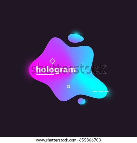 Abstract modern colorful gradient shapes on dark background. Holographic acid colors with white geometric elements. Vector minimalist artwork template for web design and branding