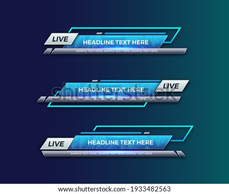 abstract modern geometric lower third banner template design. TV News Bars. broadcasting live streaming. interface template. Vector Illustration. Сток-фото ©