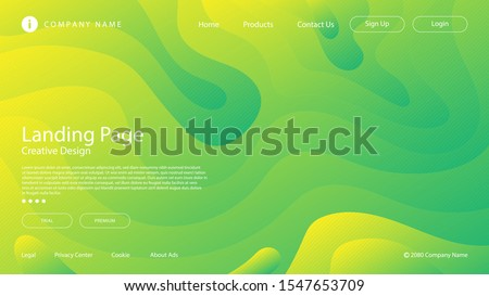 Abstract modern graphic element. Dynamical colored forms and waves. Gradient abstract banner with flowing liquid shapes. Template for the design of a website landing page or background.