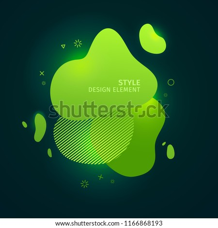 Abstract modern graphic elements. Dynamical green neon colored forms. Gradient 3d abstract banners with bright flowing liquid shapes. Template for the design of a logo, flyer or presentation. Vector.