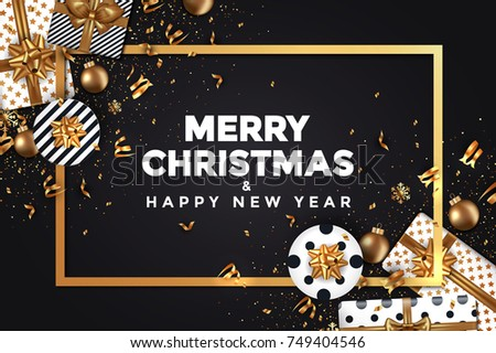abstract modern merry christmas and happy new year 2018 card with golden frame winter design