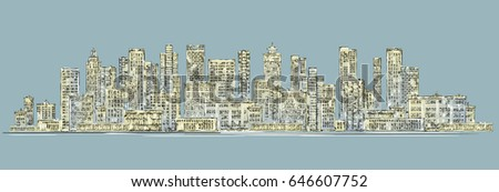 Abstract modern night City skyline, hand drawn vector illustration