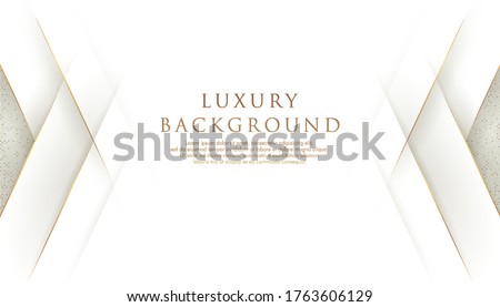 Abstract modern overlap layer luxury design gray white and gold concept with space for content. Premium and elegant design. Vector illustration.