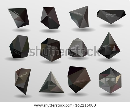 Abstract modern polygonal bubble label website header or banner vector set for website info-graphics