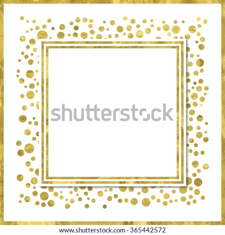 Abstract  modern poster with golden confetti, golden frame and space for text.  Vector illustration.Shiny cover. Texture of gold foil. Festive banner.