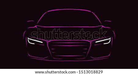 Abstract modern sport car silhouette in front view. pink neon car silhouette for logo, banner or marketing advertising design dark background. Vector illustration.